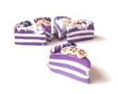 Cake Slices Stitch Markers Charms ( banana blueberry miniature food cakes polymer clay funky accessories purple )