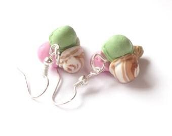 Ice Cream Earrings ( funky earrings polymer clay ice cream cone handmade mini food jewelry miniature food dessert earrings )