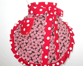 Reversible Peppermint Candy Cane Christmas Apron