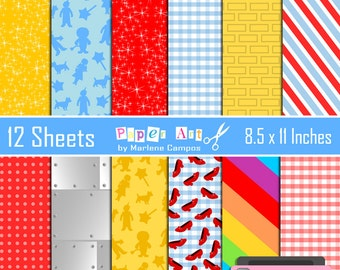 40% OFF - Wizard of Oz Digital Papers, digital backgrounds Inspired, Digital paper, Birthday Party - INSTANT DOWNLOAD