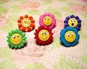 Flower Thumbtack, Flower Push Pin, Flower Notice Board Pins - 6 PCS