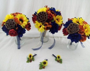 Rustic Wedding Burlap, Pods 6 piece FaLL WeDDiNG  BouQueTS MaDe To oRDeR SiLK Flower Package SuNFLoWeRS Navy Blue Wedding