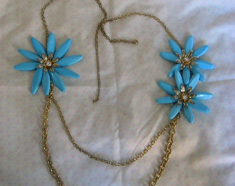 Summer necklace, large blue flowers w rhinestone centers