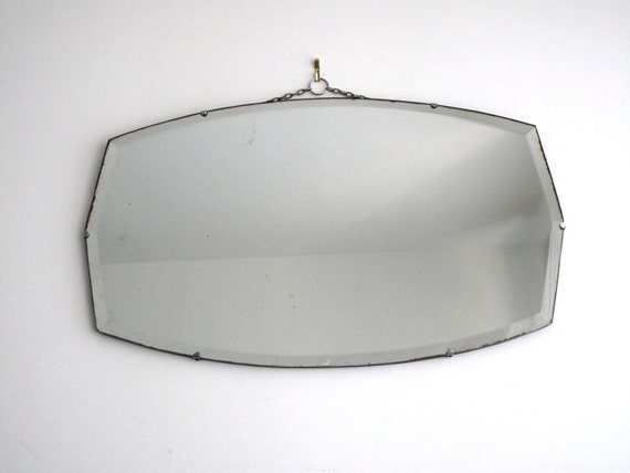 Chrome Art Deco Wall Light For Bathroom Mirrors Or Walls: RESERVED Vintage Wall Mirror Frameless Beveled By