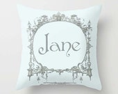 Custom Throw Pillow Cover - Your Name in Vintage Frame - Baby Blue Gray - 16x16, 18x18, 20x20 - Nursery Original Design Home Décor by Adidit