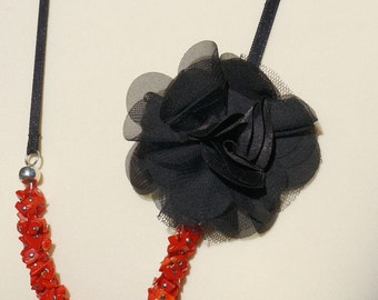 OOAK - Coral colored Chip beads Necklace with a Black Lace Flower