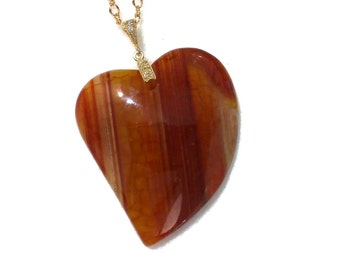 Heart Necklace, Orange Agate Necklace, Red Amber Necklace, Gemstone Necklace, Dragon Vein Pendant, Gold Necklace, Birthday Gift for Her,