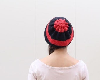 Red and Black Striped Knit Hat, Knit Slouch Hat, Urban Accessories