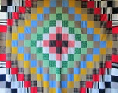 Vintage RETRO TRIP Around WORLD Quilt Top - Bright and Colorful Polyester Knits