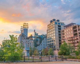 Gold Medal Flour Sunrise Twin Cities Minneapolis Icon Photo Blue Orange