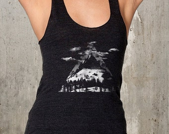 Women's Racerback Tank Top - Mountains Triangles Trees - American Apparel - Avaialble in XS, S, M and L