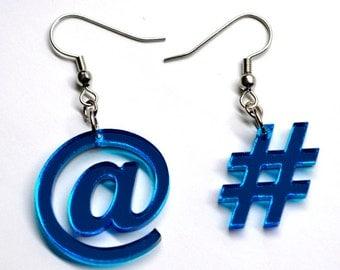 Hashtag # and Atmark @ Symbol Acrylic Earrings