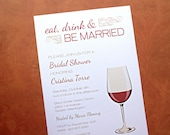 Reserved Listing for Courtney - Bridal Shower Invitations and Insert Cards, Eat Drink & Be Married, Wedding Shower Invitations, 40-Count
