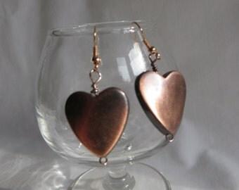 """1"""" Copper Heart Earrings, earrings, copper, heart, dangle"""