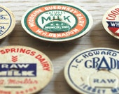 Vintage Milk Top Magnets, Set of 4