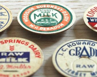 Vintage Milk Top Magnets, Set of 4