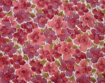 "Beautiful Vintage Cotton Fabric, Pinks,Rose,Mauve Floral, 4 Yards, 35"" Wide"