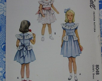 Vintage Pattern c.1950 McCall No. 8048 Girls Dress, Size 2