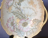 Antique 1890's TV Limoges France plate, hand painted platter, gold china cake plate, antique plate, porcelain plate, antique platter