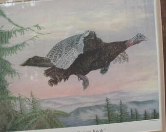 Vintage Steve H. Jackson turkey art print framed, Sunrise at Spruce Knob, 1985, limited edition, West Virginia wildlife artist, bird art