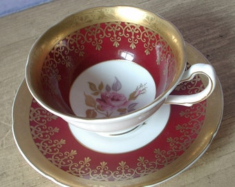 Vintage red tea cup and saucer, Royal Grafton teacup, English tea cup, bone china tea cup, red and gold tea cup, pink rose tea cup
