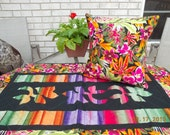 BOHO Hippie Chic. Tropical Floral Table Runner Pillow Covers Placemats. Batik variegated ombre stripe, applique, beach, boho, OOAK