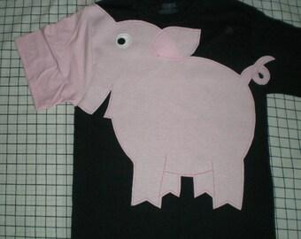 PIG t-shirt with nose sleeve, Unisex adult, black shirt, pig shirt, kawaii shirt, fun shirt