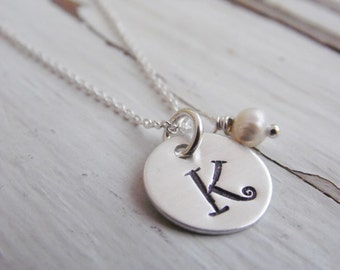 Initial Necklace Hand Stamped Sterling Silver Disc Monogram Necklace