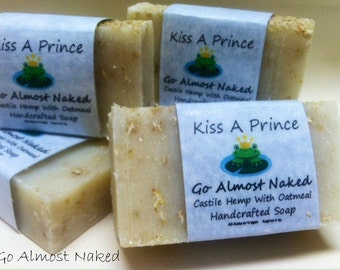 Handcrafted Pure Castile Soap with Oatmeal  Almost Naked Set of 2 Bars  ALL NATURAL
