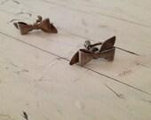Vintage Sterling silver bow earrings