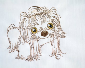 sweet Shih Tzu, machine embroidery design