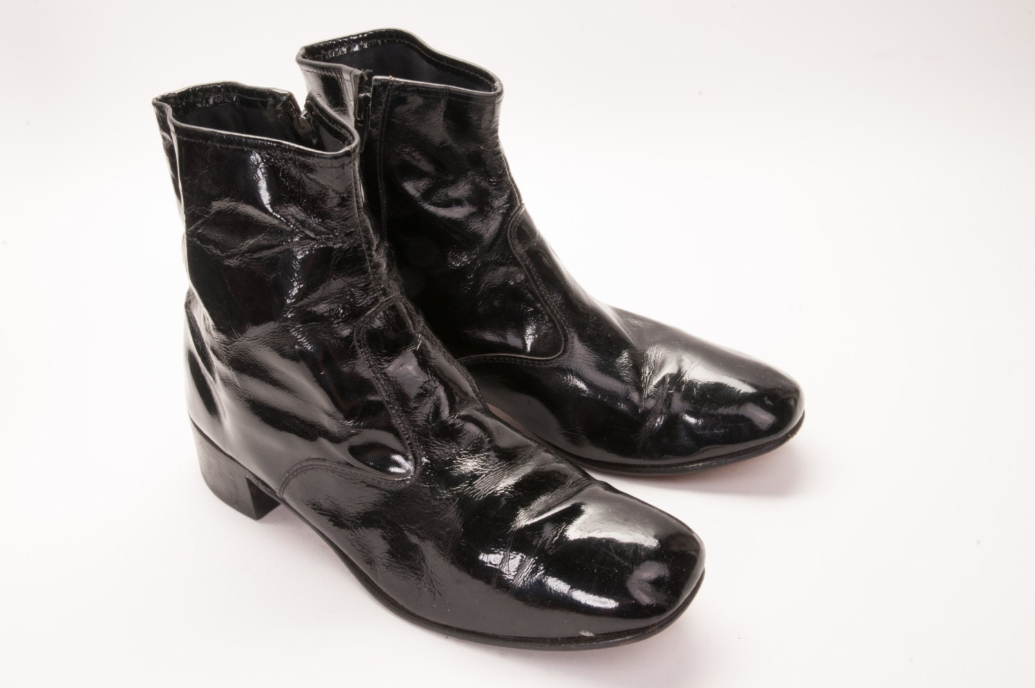 1970 s s black patent leather boot 11 beatle