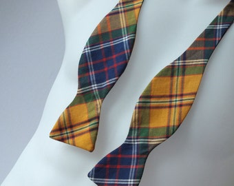 Bow Tie - mens, Cameron Plaid fabric, self tie - I make just freestyle bowties for men.