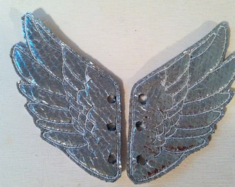 Metallic Silver Faux Leather with White Stitching Percy Jackson Inspired Shoe Wings