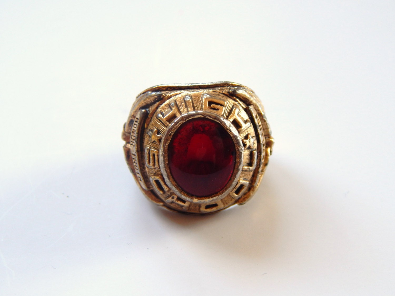 Vintage Class RIng Salesman Sample Ring Red Class Ring