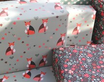 Double Sided Wrapping Paper. PACK OF 5 SHEETS: Fox and Floral Wrap