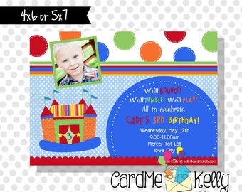 Printable Girl or Boy Inflatable Bounce House Colorful Invitation - Digital File