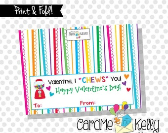 INSTANT DOWNLOAD Printable Gum Gumball I ChewsYou Treat bag Toppers Labels Valentines Day Cards