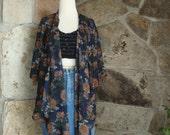 70s SHEER FLORAL KIMONO jacket drapey wrap festival top M