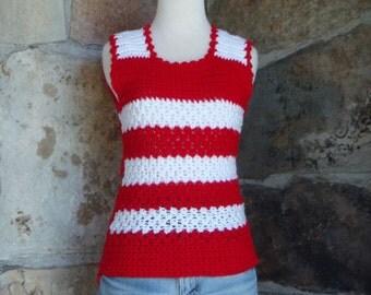70s CROCHET SWEATER VEST vintage handmade stripes