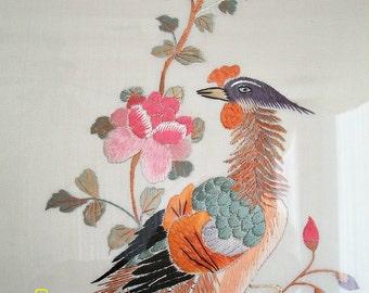 Silk Chinese Antique  threadwork Masterpiece Gorgeous Bird Wall Hangings Dating 1900s