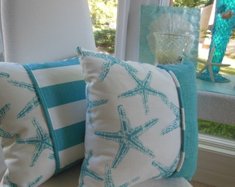 Decorative Pillow - Coastal Blue Pillow - Starfish Pillow - Reversible 15 x 15 Inch - Coastal Blue and White Pillow - Starfish and Stripes