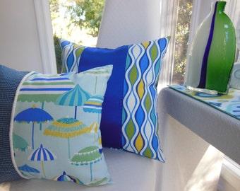 Blue Beach Pillow - Seaside Designer Pillow - Beach Umbrella Decorative Reversible Pillow - 15 x 15 Inch - Royal Blue, Jade Green, Turquoise