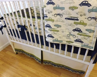 Boy Baby Bedding- Crib Bedding Set- MADE TO ORDER-Retro Rides