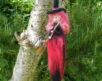 Hanging Red Halloween Witch with her Broomstick