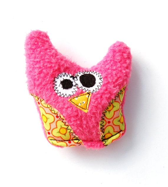 Lil Mini Durable Plush Owl  Dog Toy with Secret Heart Fortune & Squeaker -  Guppy by Fugly Friends