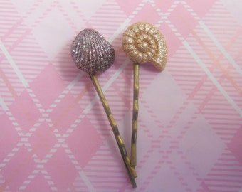 Sparkling Shells Hair Clips/ Bobby Pin.