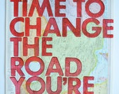 Iran and Afghanistan/  Still Time To Change the Road You're On/ Letterpress Print on Antique Atlas Page