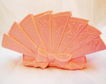 McCoy Planter Vintage Pottery 1950's  Pink Fan Shaped Novelty Planter made in USA
