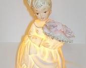 Vintage REDUCED PRICE Lefton Night Light Lamp.  Angel or Girl Figurine.  Porcelain.  Soft Pastel Colors.